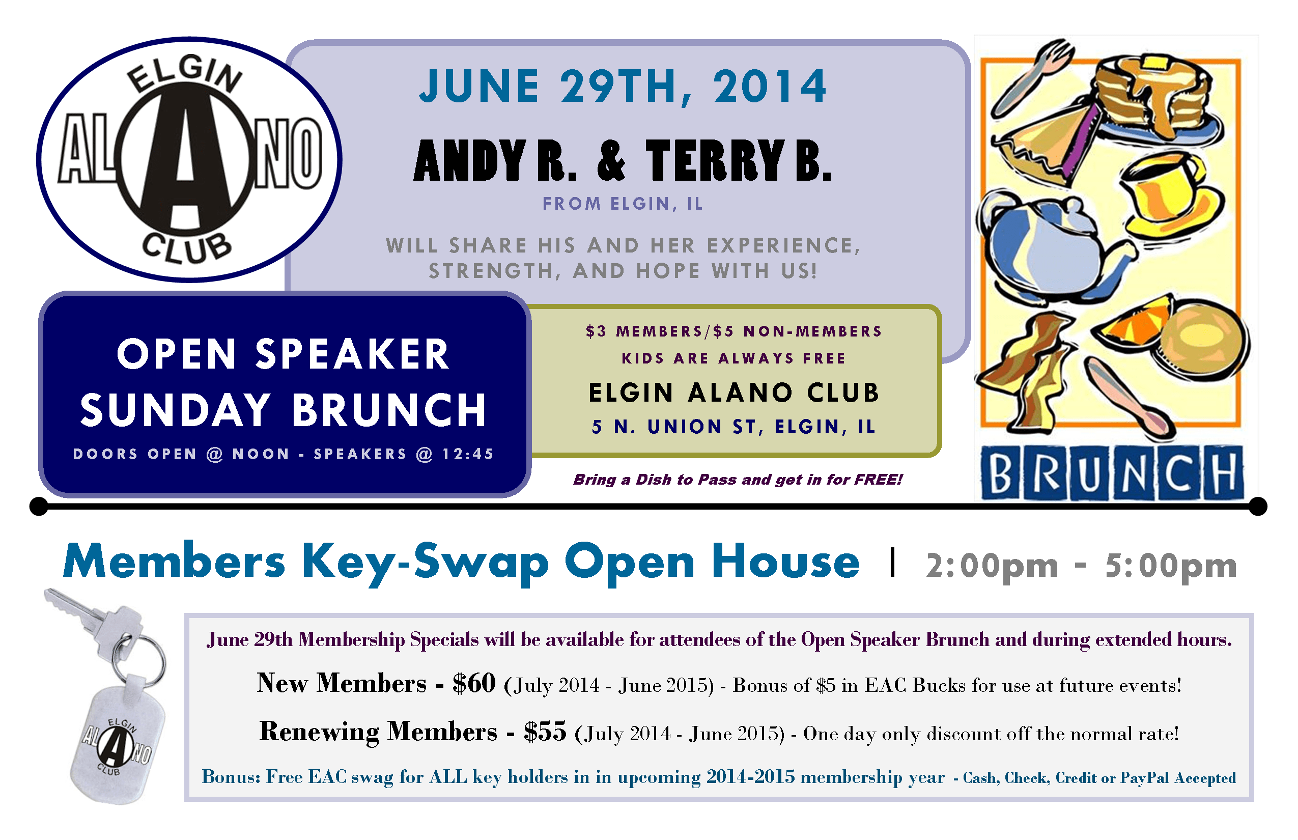 June 29th Open Speaker Brunch - EAC Membership Keyholder Exchange 1