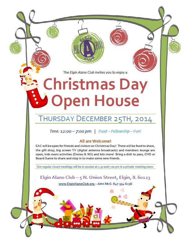 Christmas Day Open House – Elgin Alano Club