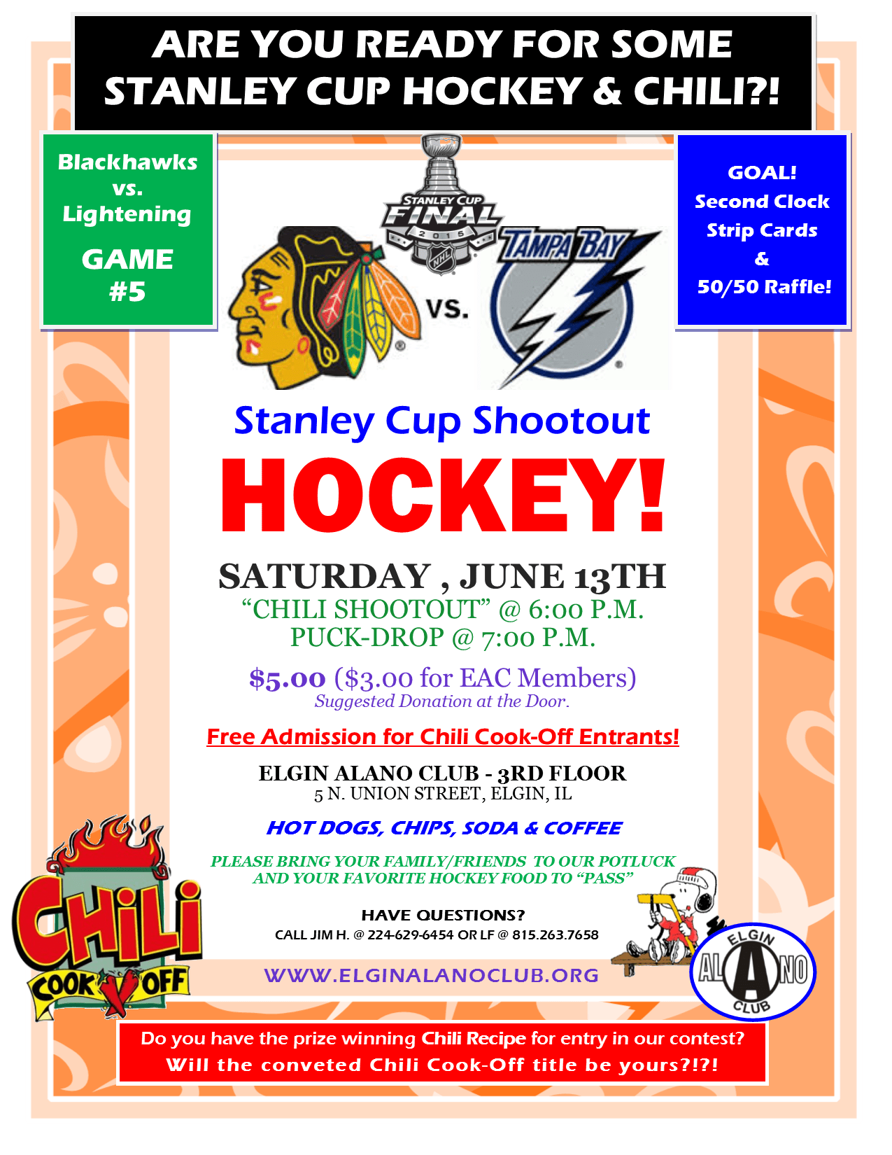 Saturday Night Shootout - Stanley Cup HOCKEY and Chili Cook-Off! 1