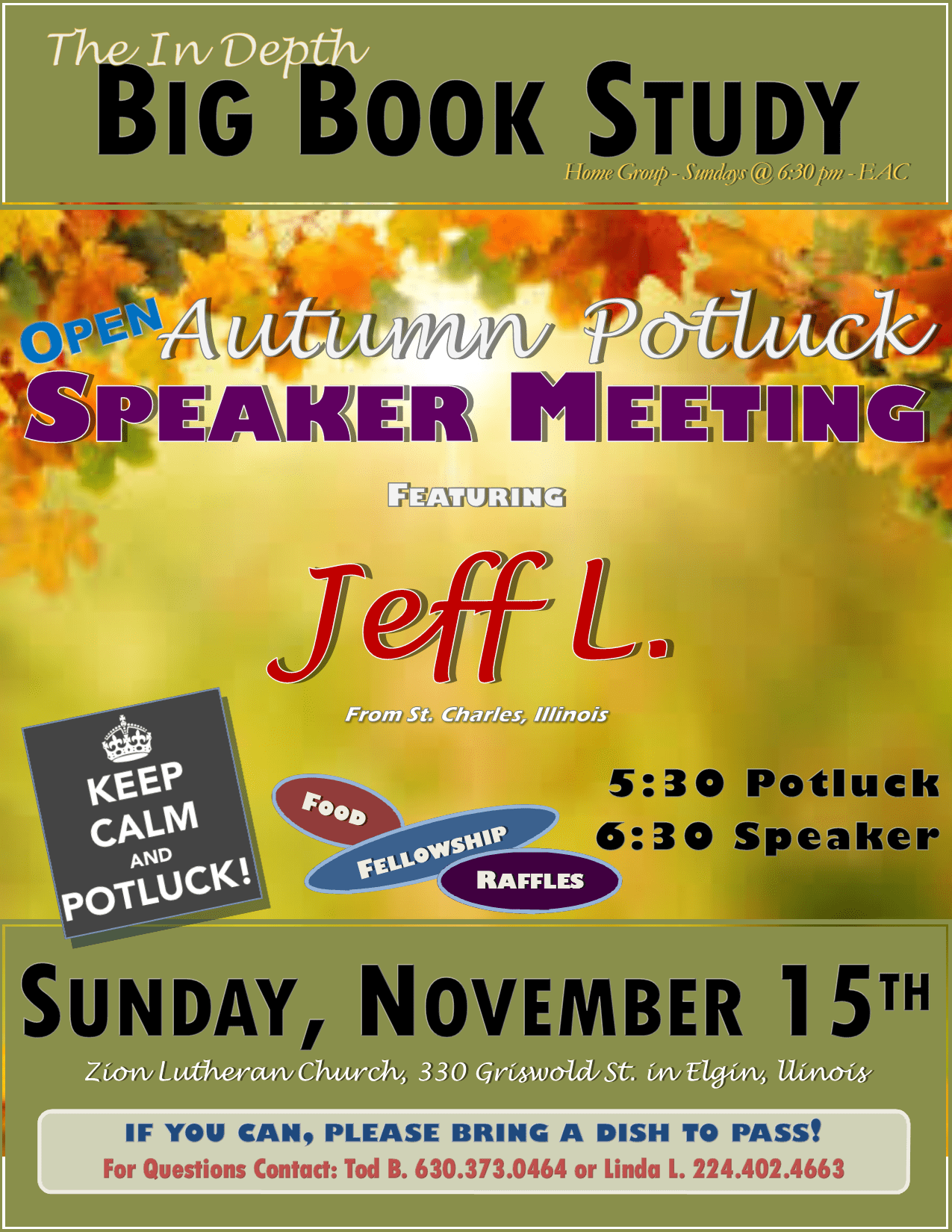 Autumn Open Speaker Potluck – In-Depth Big Book Study Group 1