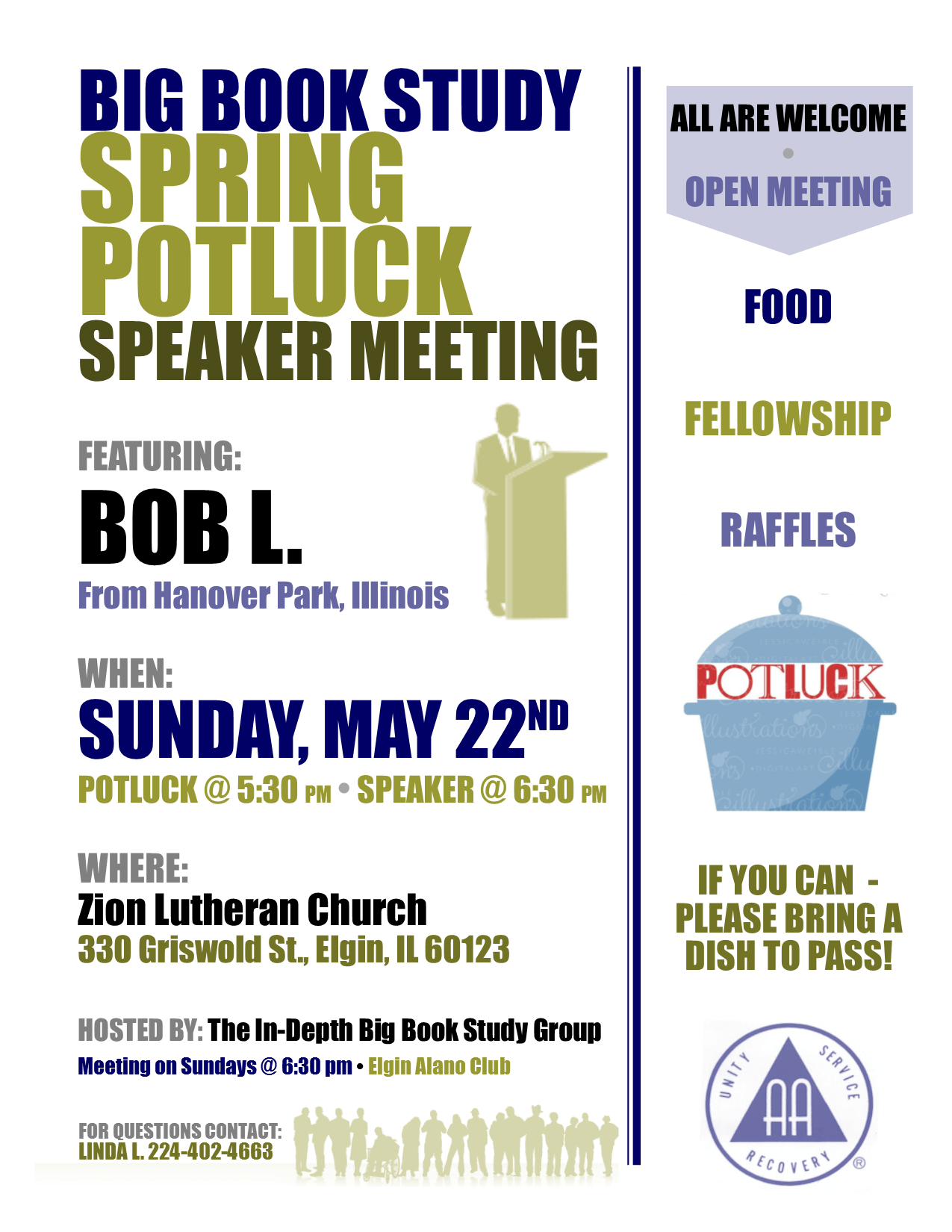Spring Open Speaker Potluck – In-Depth Big Book Study Group 1