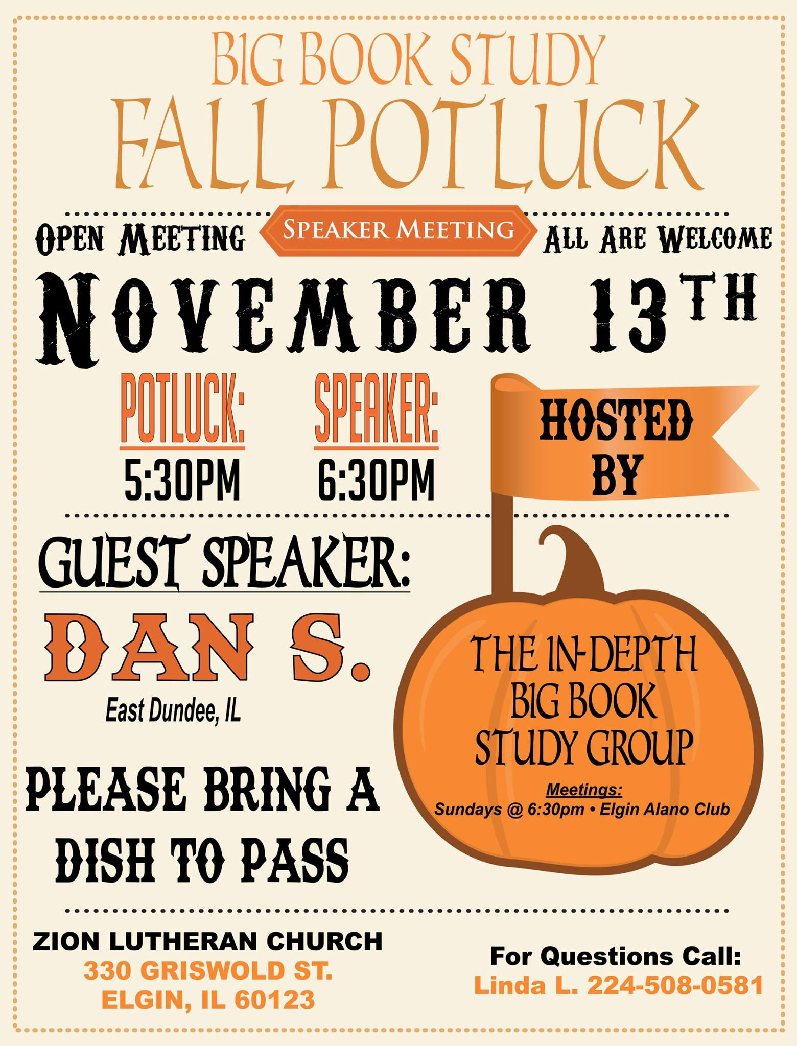 Fall Open Speaker Potluck – In-Depth Big Book Study Group 1
