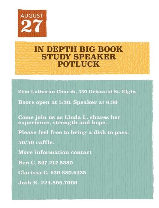 Summer Open Speaker Potluck – In-Depth Big Book Study Group 1