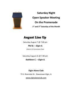 August Open Speaker