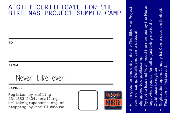 gift certificates for the traverse city summer camp