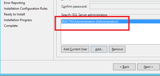 Add the local administrators group to SQL Server administrators (6/6)