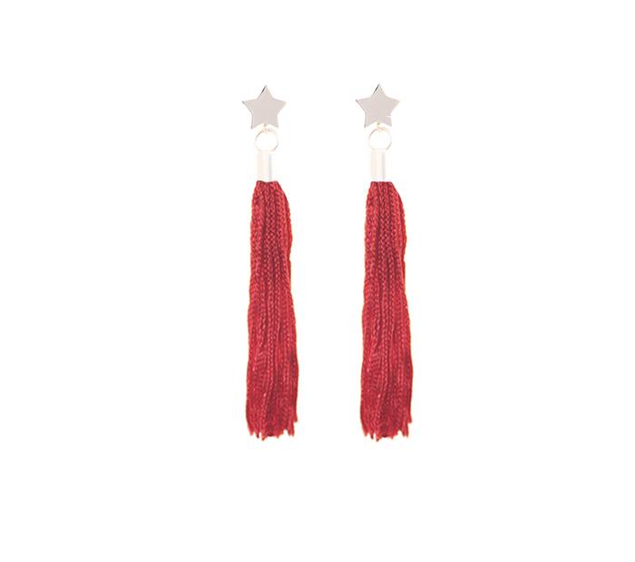 pendientes pompon estrella rojo marinero
