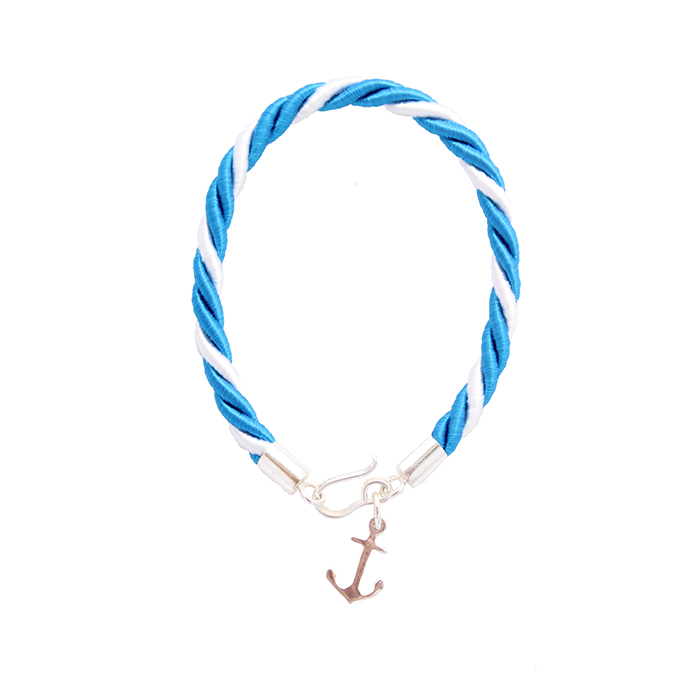 pulsera cordón seda ancla azul
