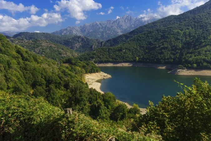 View of Tolla Lake and Prunelli Gorge in Corsica, France