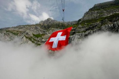 Bandera de Suiza en Säntis