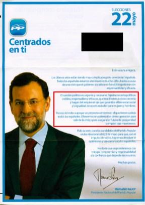 Carta de Rajoy a los no tan jóvenes