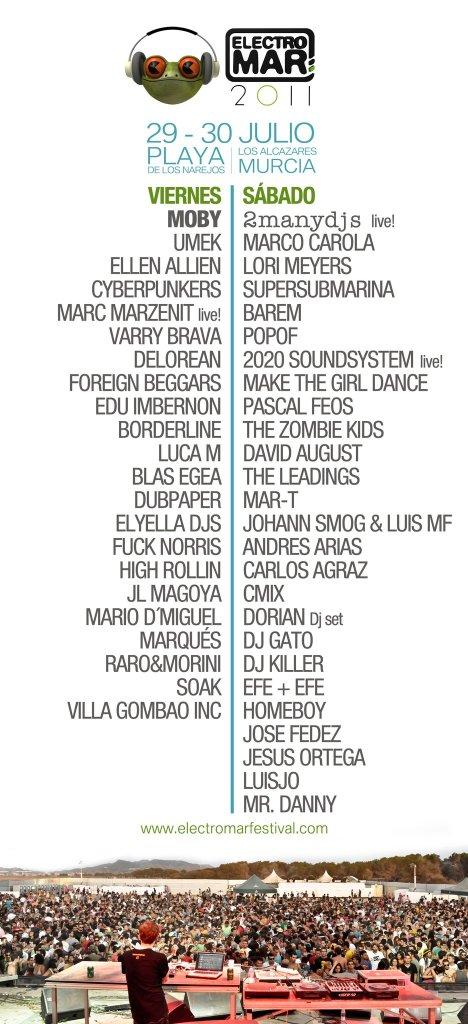Artistas/día del Electromar Festival 2011