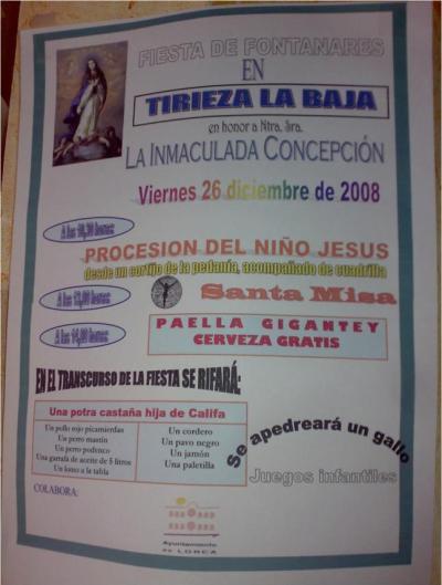 Cartel de fiestas de Tirieza Baja, Fontanares (Lorca). Diciembre 2008