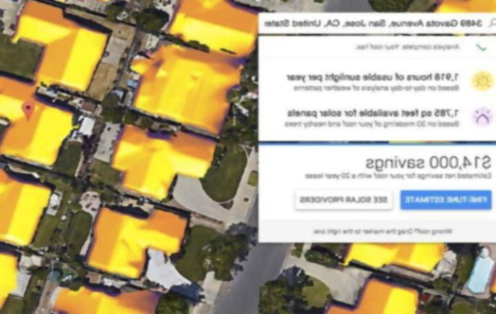 Un nuevo proyecto de google te informará de la cantidad de energía solar que recibe el techo de tu casa en un año
