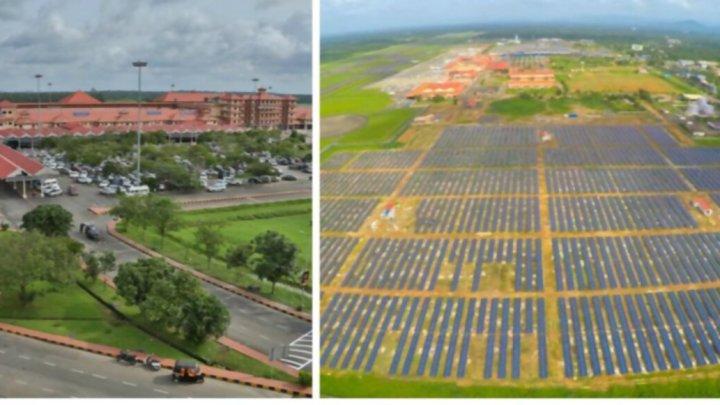Paneles solares en el Aeropuerto de Cochín, India
