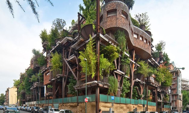 Casa del árbol urbana, utiliza 150 árboles para proteger a los residentes del ruido y la contaminación