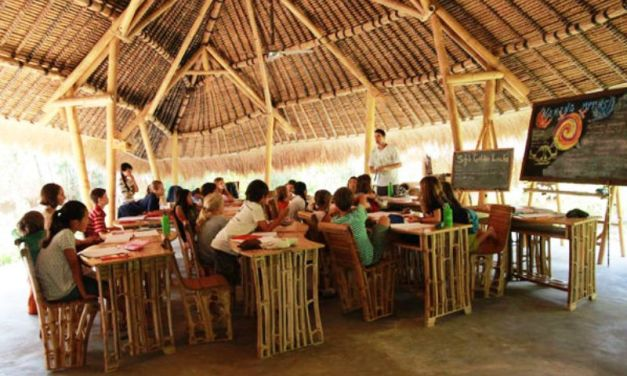 Conoce la escuela en medio del bosque, hecha de bambú que enseña Permacultura a los estudiantes