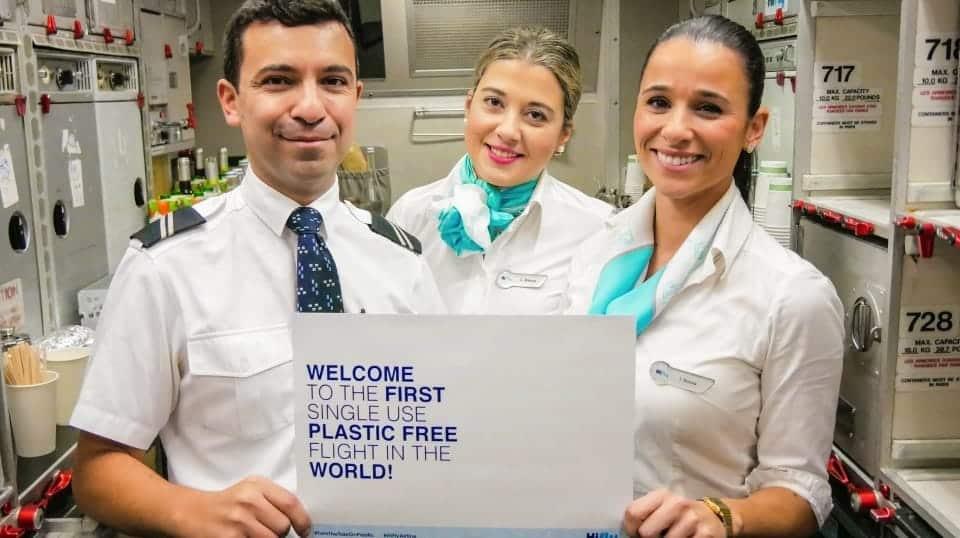 Primer vuelo libre de plástico desechable de Portugal a Brasil