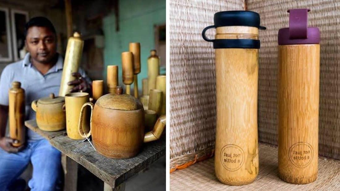 Hombre crea botellas de bambú ecológicas y a prueba de derrames