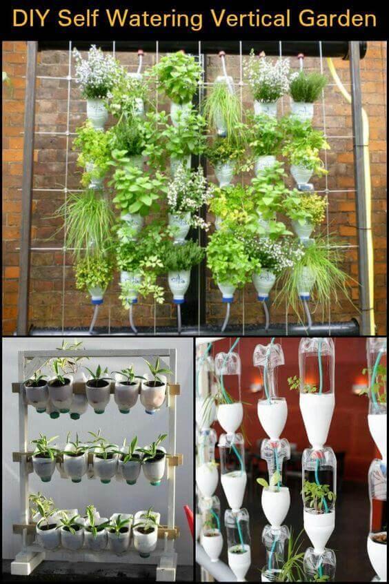 Jardines verticales hechos con botellas recicladas