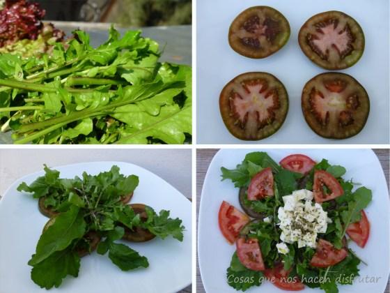 Ensalada de rúcula,tomates y mozarella