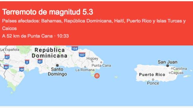 Temblor de magnitud 5.3 se siente en San Francisco de Macorís.
