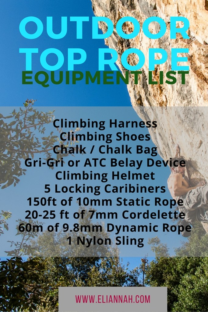 Outdoor Top Rope Equipment List