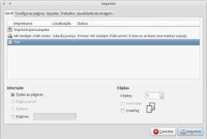 Captura de tela do painel de impressão no XFCE
