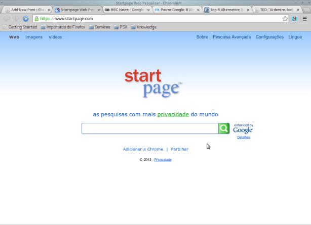 Tela inicial do StartPage