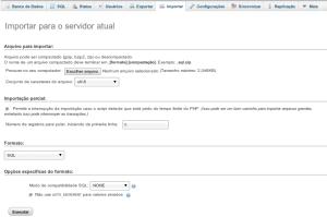 phpmyadmin importar arquivo sql  backup