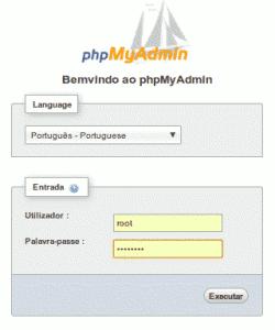 phpmyadmin login screen - tela de autenticação