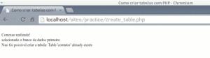 script php mysql criar tabela comando create table