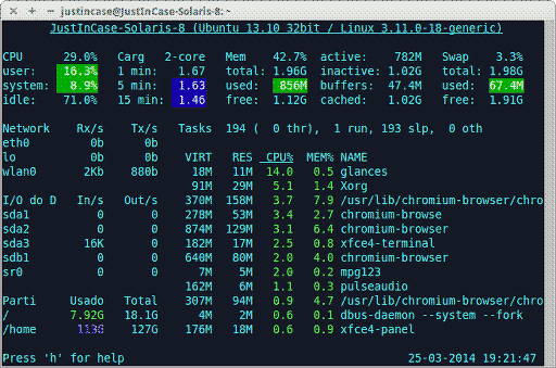 glances ferramenta de monitoramento Linux - tela principal