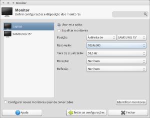 Ubuntu - Painel de configurações do Monitor - Xubuntu.