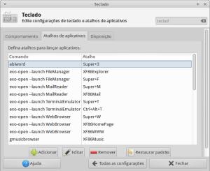 Painel de configuração de atalhos de teclado no Xubuntu