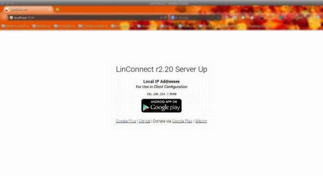 Captrura de tela do navegador firefox exibindo a tela do servidor LinConnect