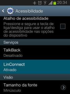 Captura de tela da configuração de ativação do LinConnect no Android