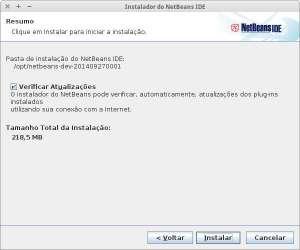 captura de tela de instalação do netbeans