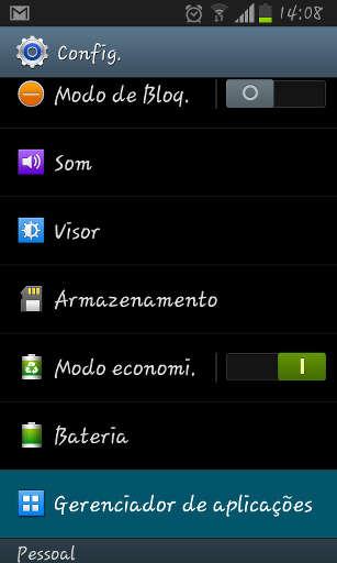 Captura de tela do gerenciador de aplicações do Android