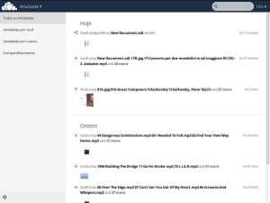 Captura de tela do aplicativo de ativiidades do ownCloud.