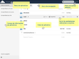 captura de tela da Interface gráfica do cliente web OwnCloud