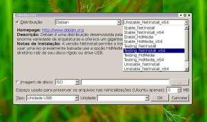 captura de tela do aplicativo UNetbootin exibindo a lista de versões disponíveis da distribuição Linux escolhida.