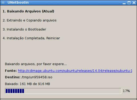captura de tela do aplicativo unetbootin fazendo download do xubuntu