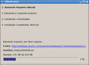 captura de tela do aplicativo unetbootin fazendo download do xubuntu