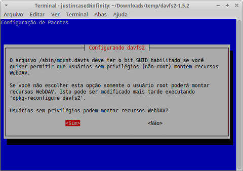 Captura de tela da configuração do davfs2