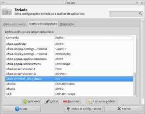 Captura de tela do painel de configuração de atalhos de teclado.