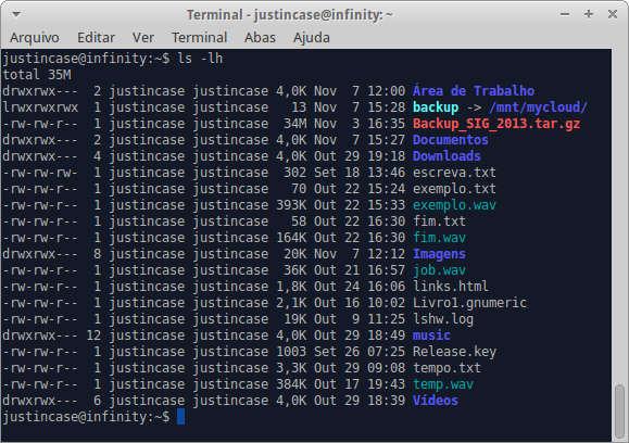 captura de tela do terminal com listagem de arquivos e diretórios