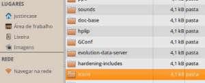 captura de tela da lista de arquivos no Thunar