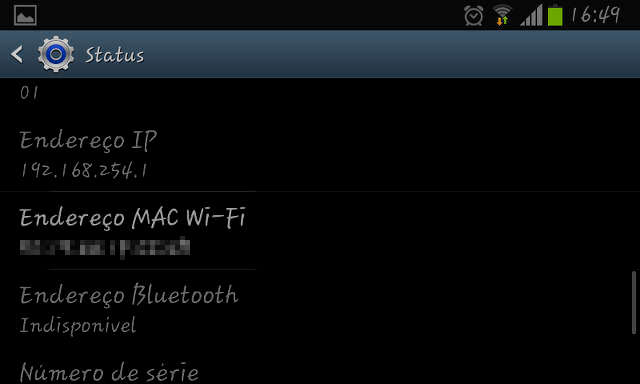 Endereco mac wifi no android