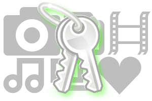 ícones do Gnome - câmera, música, chave, coração.